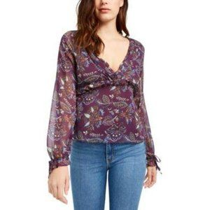 NWT Womens Purple Floral Long Sleeve V-neck Large